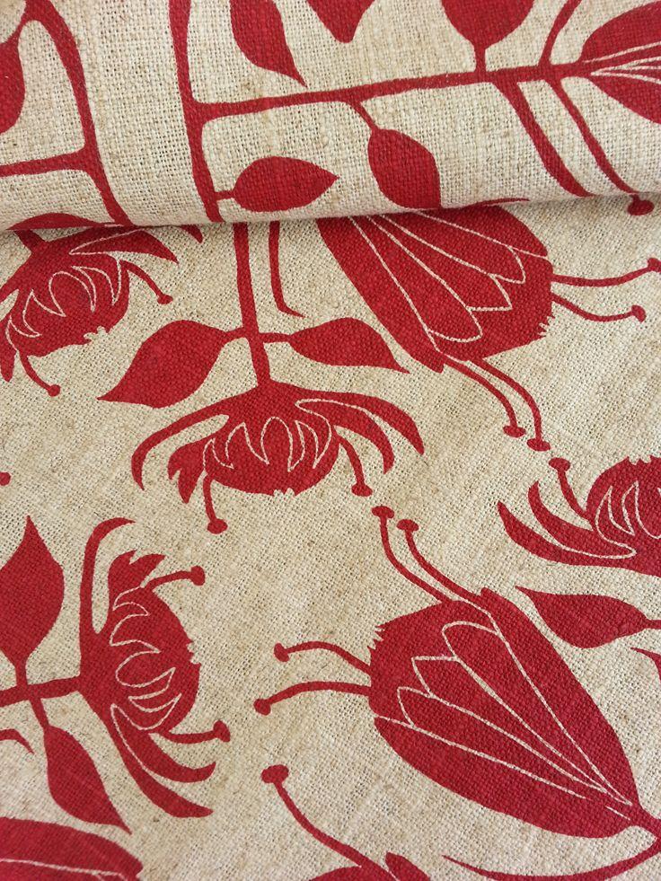 Maradadhi Textiles Protea.  Lipstick Red onto linen.