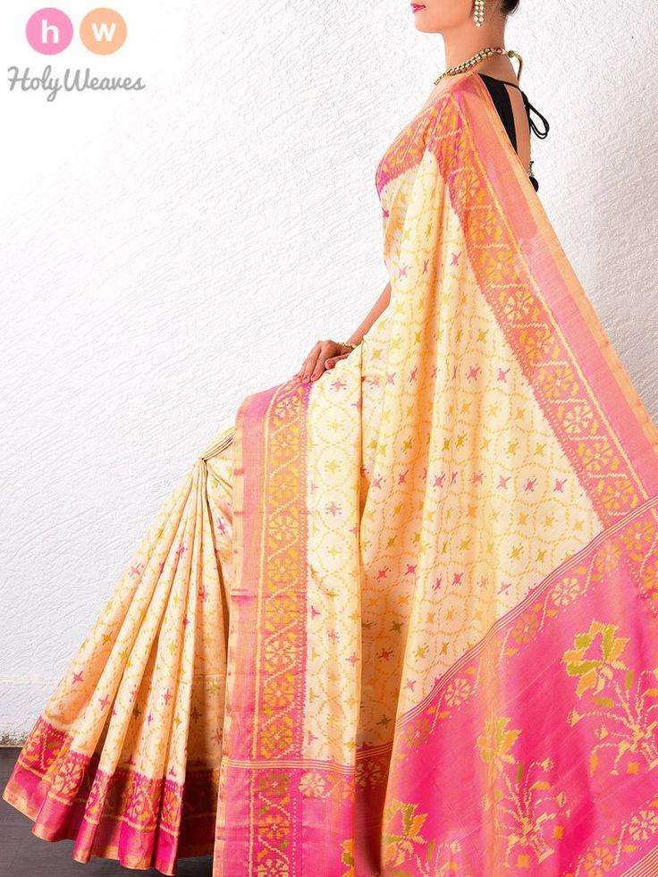 #Cream #Katan #Silk #Patola #Handwoven #Saree #HolyWeaves