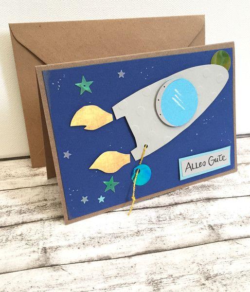 Glückwunschkarten – Kindergeburtstagskarte mit RAKETE – ein Designerstück von…