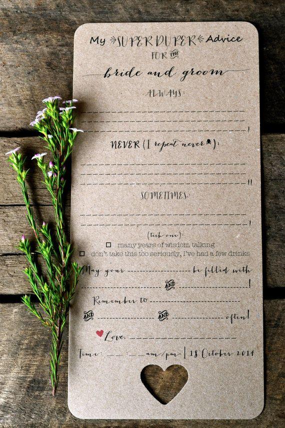 free bridal shower advice card template%0A Custom Listing for SarahWedding Madlibs Advice Cards PDF