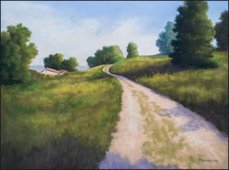 Dirt Road over the Hill by Olli Malmivaara Soft pastel painting 30 x 40 cm