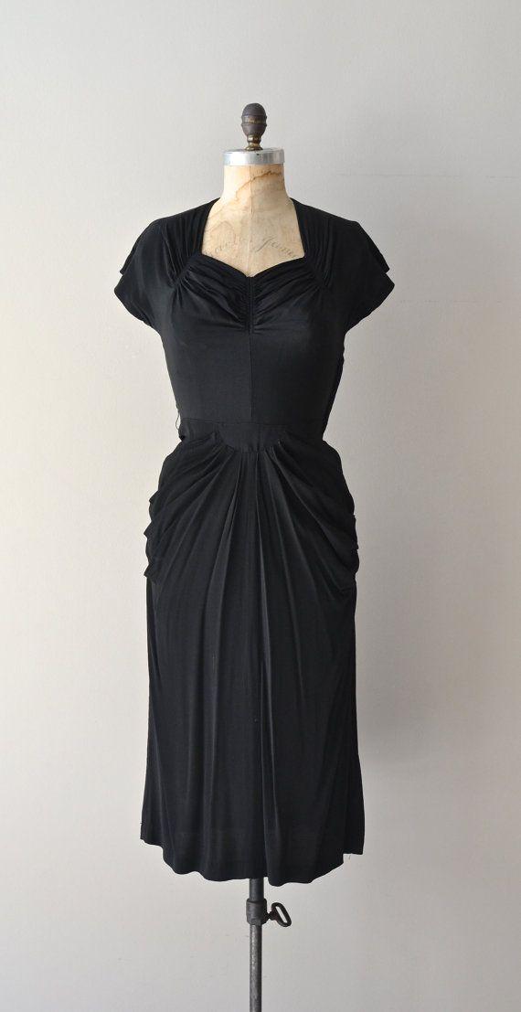 Dark Heart dress / 1940s rayon dress / vintage black by DearGolden