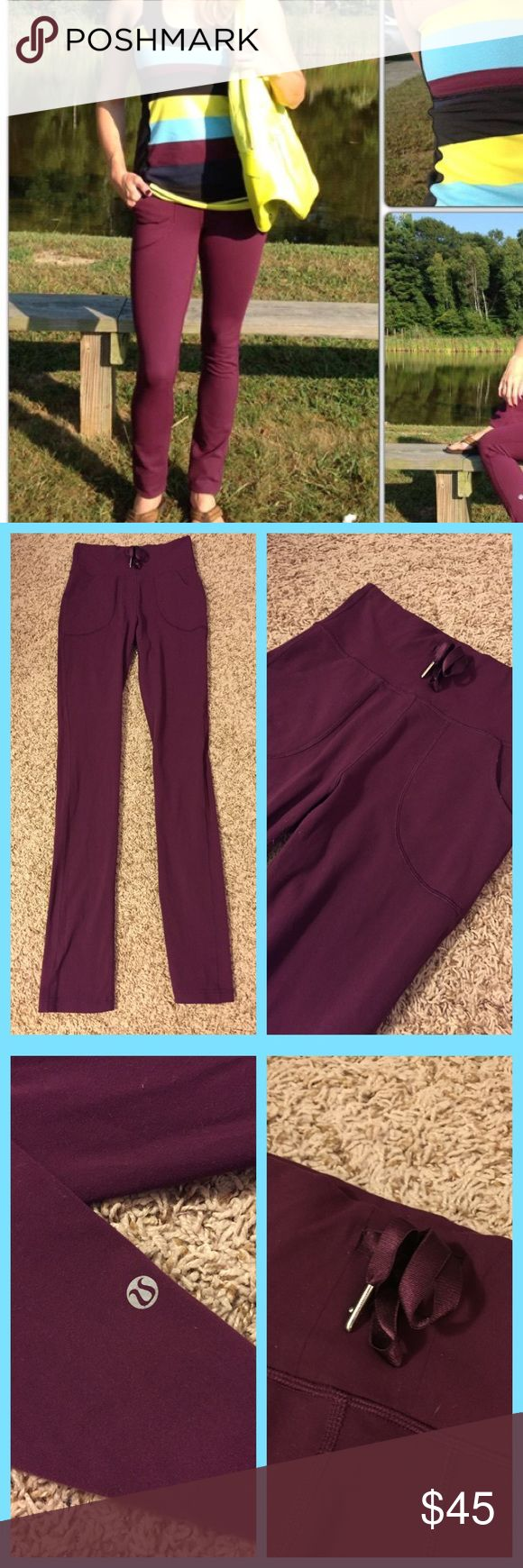 💕Lululemon Skinny Will Plum Pants ~ 6💕 No major issues. A little sticky, pilling at the gusset, some threads poking out near waistband. lululemon athletica Pants Leggings