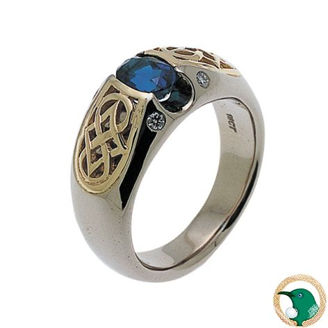 Gemstone and Diamond Celtic ring shown here in 18ct yellow gold and white gold