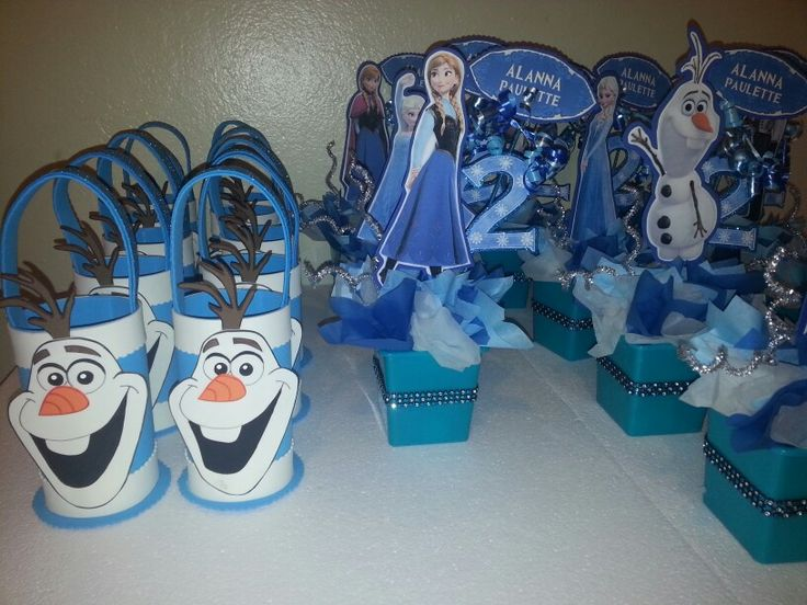 Frozen centerpieces and candy holders dulceros y centros ...
