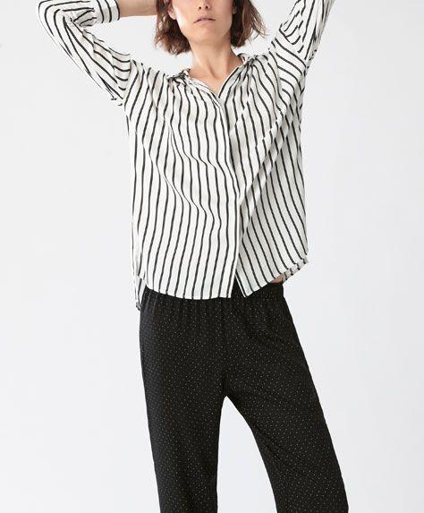 PIJAMALE - Tip cămaşă - Tendinţe AW 2016 în moda pentru femei, pe Oysho online: lenjerie intimă, lenjerie, îmbrăcăminte sport, etnică, boho, pantofi, accesorii şi modă de plajă.