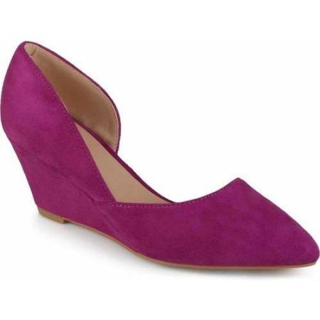 Brinley Co. Womens Pointed Toe Faux Suede Classic D'orsay Wedges, Women's, Size: 8.5, Purple