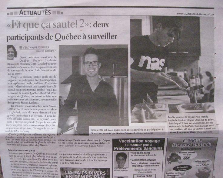 Un article à propos de ma participation à l'émission Et que ça saute - 2e saison dans le Charlesbourg Express