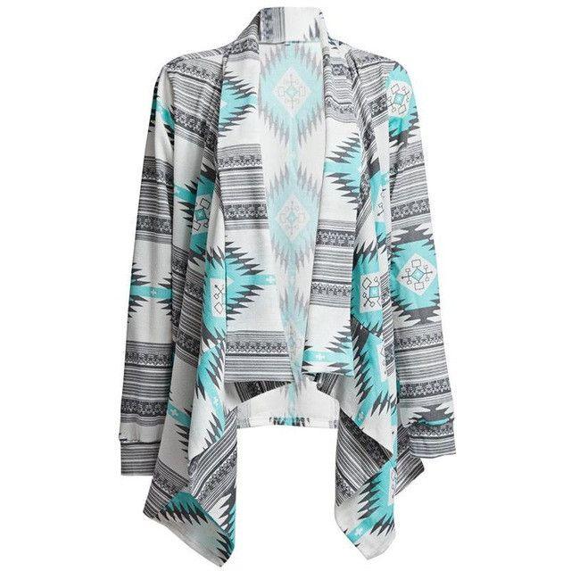 Women Tops Fashion Long Cardigan Female Stylish Collarless Long Sleeve Cardigan Tribal Print Asymmetrical Cardigan Female