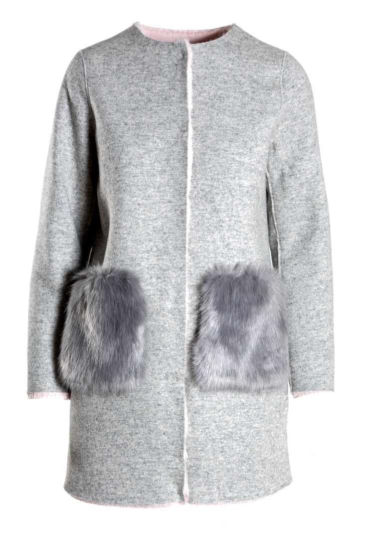 Light grey jacket with darker grey fluffy pockets by Ci Moda.