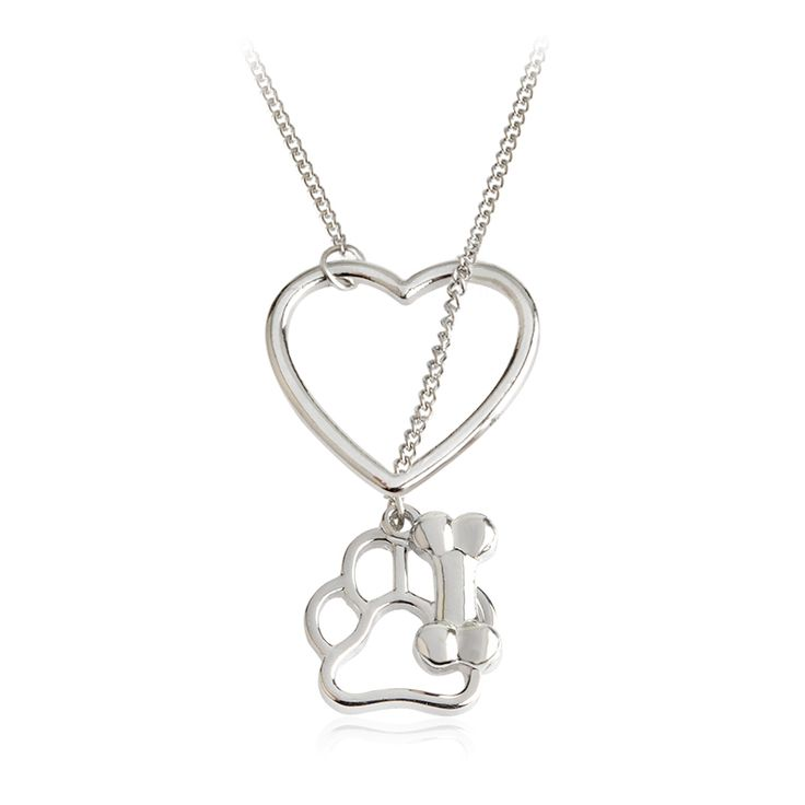 Hollow Dog Paw Claw Bone Heart Pendant Necklace Memory Necklace Pet Animal Jewelry Gift for Dog Parents Animal Lovers