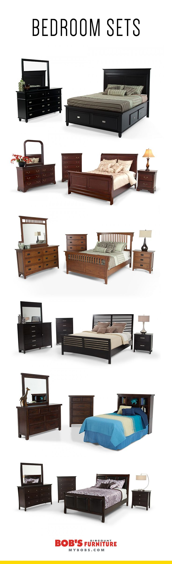 Sixteen different 8-piece #bedroom sets, only $999 each! Super stylish and an untouchable value, only at My Bob's!