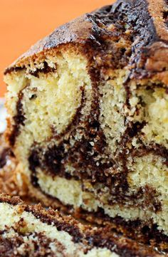 Marble Loaf Cake recipe from JennyCanCook.com - No butter! This low fat cake is made with olive oil and fresh orange zest. It's a delicious, moist healthy cake - easy recipe.