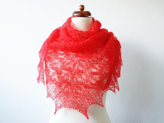 knit red scarf mohair lace shawl Christmas fashion gift for