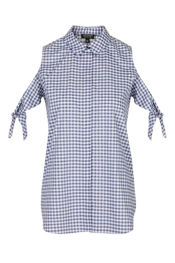 Gingham Cold Shoulder Shirt - Topshop