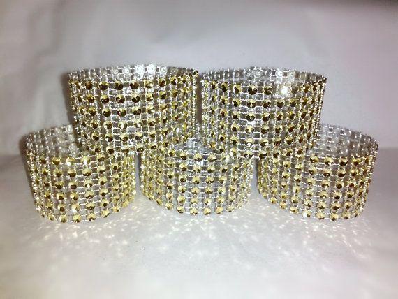 50 Pc Light Gold Napkin Rings Bling Crystal RhinestoneParty Wedding Event Napkin Ring $25.00