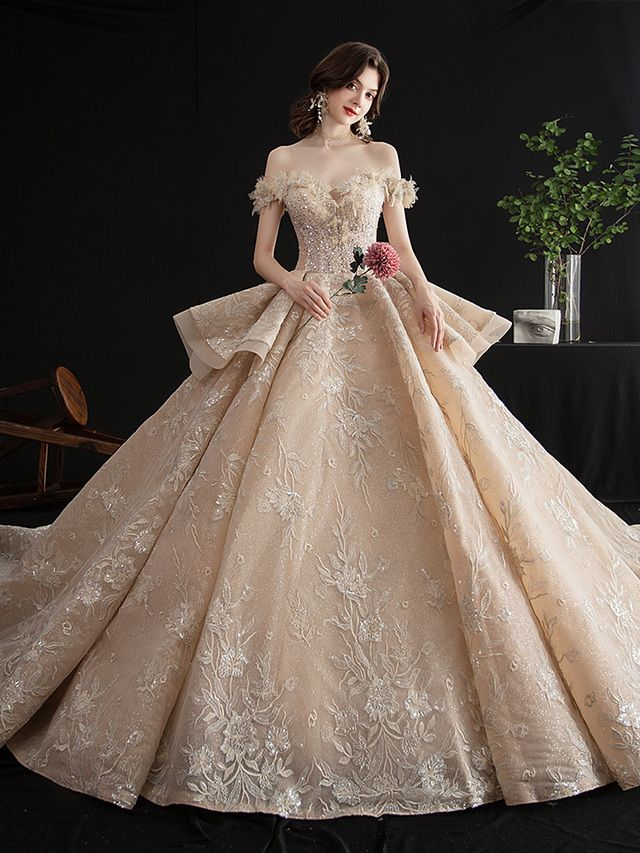 Off The Shoulder Champagne Appliques Long Train Beading Wedding Dress Ball Gowns Wedding Wedding Dress Train Applique Wedding Dress