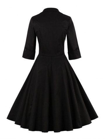 BLACK Bowknot Panel Flare Rockabilly Swing Dress S