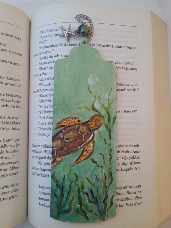 Sea turtle bookmark caretta bookmark hand painted by AxiKedi