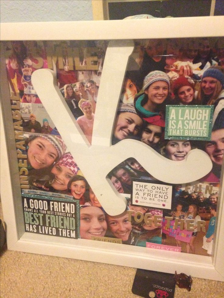 Birthday present I made for my friend! Picture collage with wooden letter over it inside shadow box frame. Cost under $15!