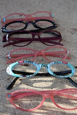 50's glasses -reading glasses from dollar store with stick-on gems!  party favors for Shaeli's Birthday Sock Hop