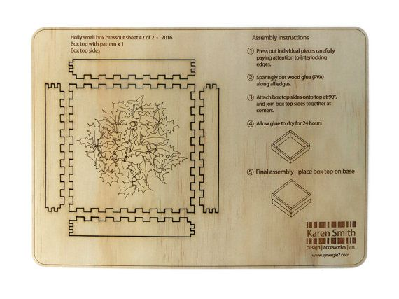 Christmas plywood laser cut box kit self by KarenSmithDesigns