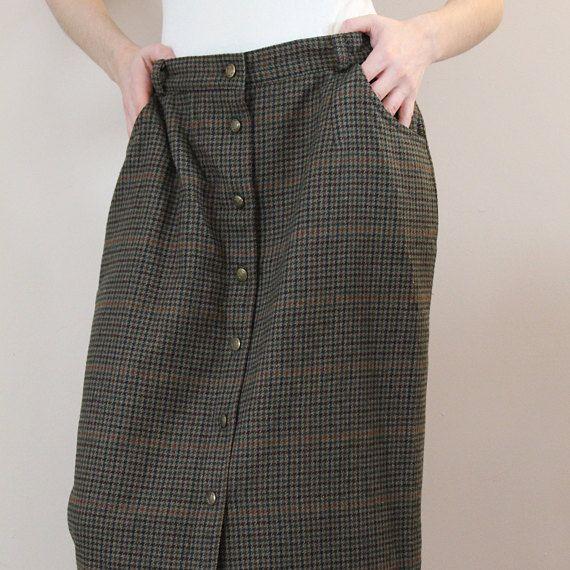 Jupe de laine, jupe maxi laine, jupe vert olive, jupe pied-de-poule, jupe de tweed, jupe vintage 90' jupe taille 12