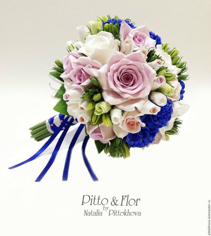 """Купить Букет невесты """"Белые розы и синие гортензии"""" - синий, букет на свадьбу, букет невесты"""