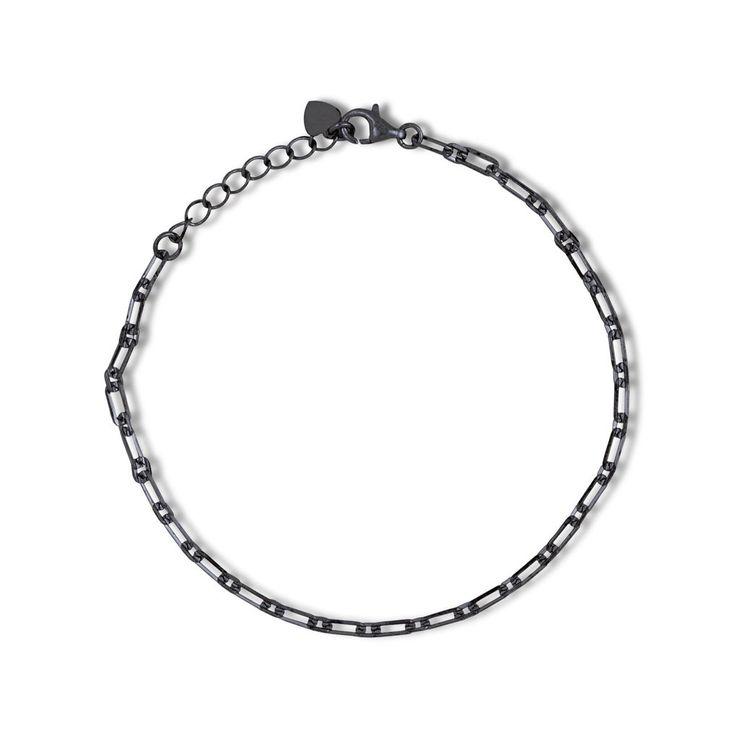Links chain bracelet black gold vermeil