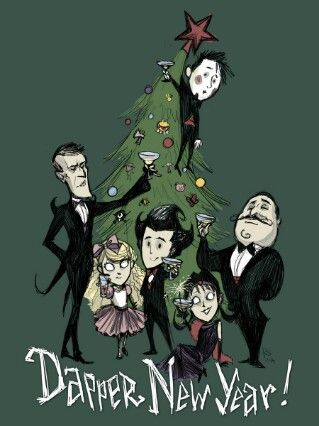 Don't Starve dapper new year- Wes, Maxwell, Wendy, Wilson, Willow, and Wolfgang