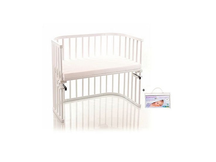NSAuk Maxi Babybay with Foam Bamboo Mattress and Fitted Sheet - White