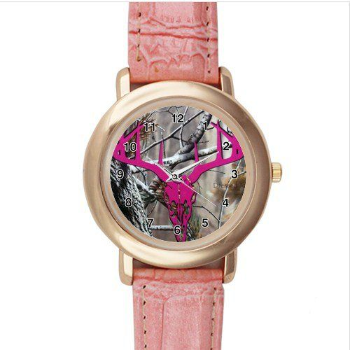 New Custom Real Tree Pink Leather Watch