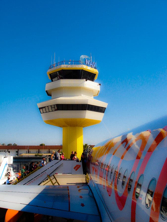 airport confectionery, Faro tower, Portugal.