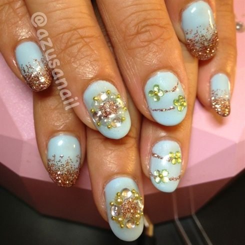 baby blue nails with stones by azusa from Nail Art Gallery