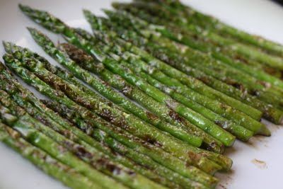 Asparagus, olive oil, and garlic salt. Roast in the oven or cook in a frying pan.