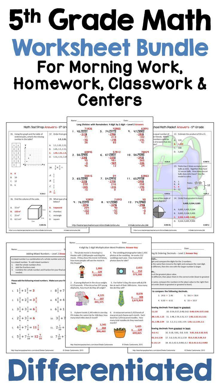 5th Grade Math Worksheet Bundle for Morning Work [ 1288 x 736 Pixel ]