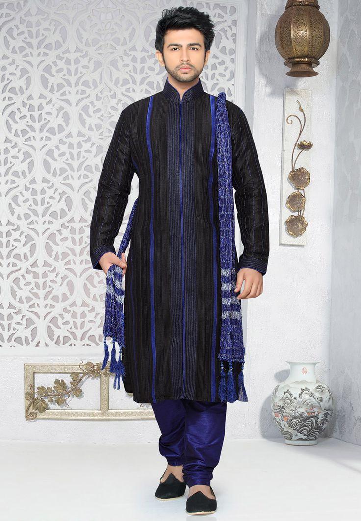 Black Dupion Art Silk Readymade Kurta with Churidar: MKZ61