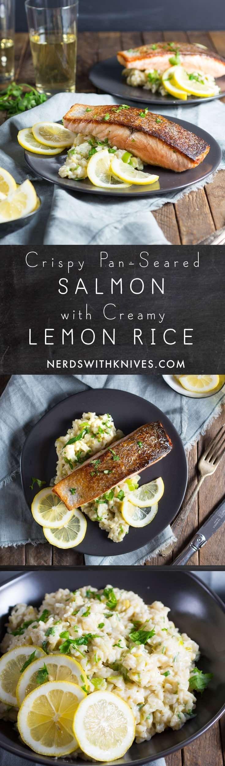 Really, *really* Crispy Pan-Seared Salmon with Creamy Lemon Rice