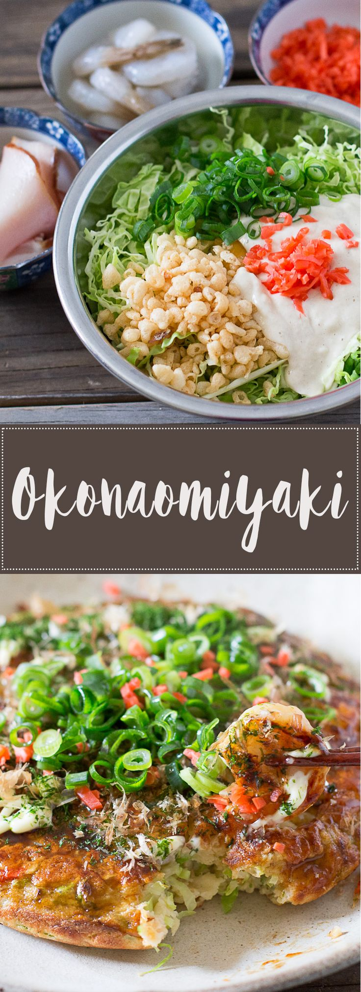 Okonomiyaki is a Japanese savoury pancake that you can easily make at home with your favourite toppings!