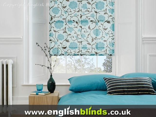 Contemprorary blue patterned rolller blinds