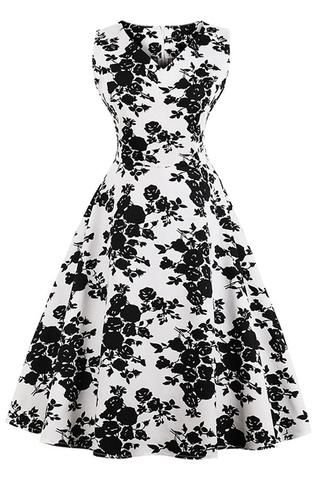 8af0f239d7 Atomic Black and White Floral Sleeveless Dress in 2019