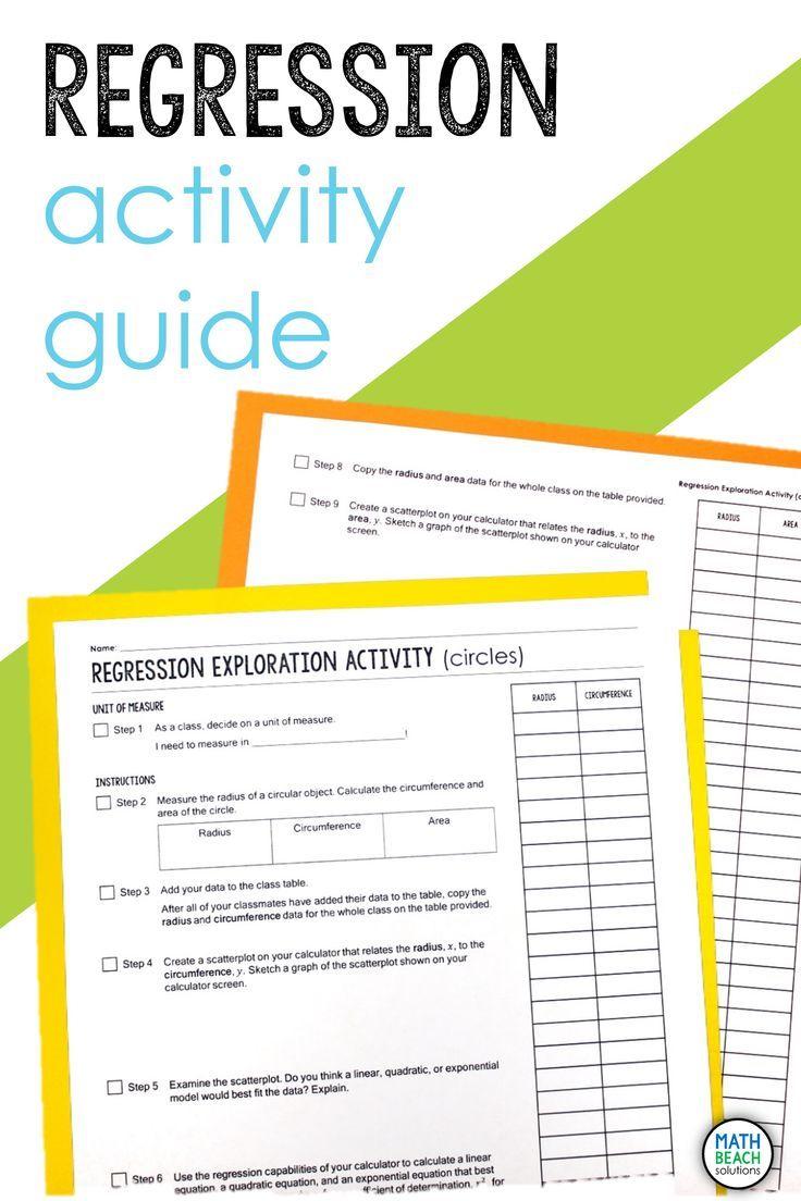 Linear Quadratic Or Exponential Regression Exploration Class Activity Guide Quadratics Algebra Worksheets Algebra Resources