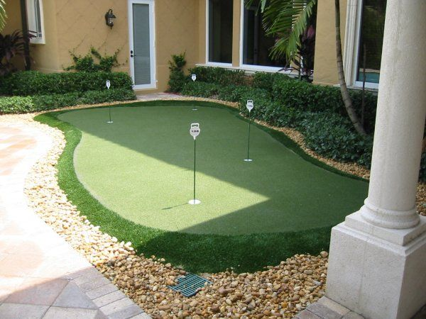 Practice golf putting skills in your backyard anytime on artificial turf putting green. This is not my design but i can design one that  fits your landscape needs and budget contact us at www.fiveseasosnlc... Roseville, ca.