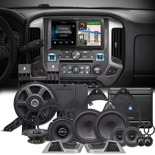 """Alpine X110-SLV 10"""""""" Navigation Restyle system & PSS-31GM Speaker Upgrade Package For 2014+ Chevy Silverado Crew Cab"""
