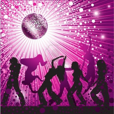 Vector background - pink CD Cover design with people, disco-ball and glitters Stock Photo