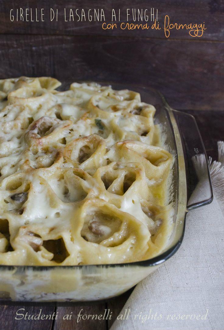 Girelle di lasagna funghi e crema ai formaggio fontina e besciamella