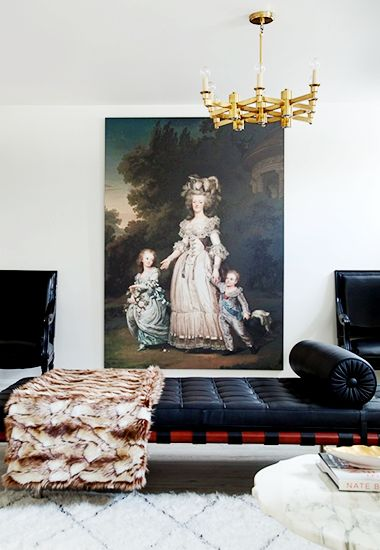 From Art to Lighting — How To Decorate Like an It Girl// portrait, brass lighting, Barcelona daybed, Mies van der Rohe: Home Tours, Living Rooms, Black Interiors, Art, Mary Antoinette, Portraits, Style Me Pretty, Design, Christine Dovey