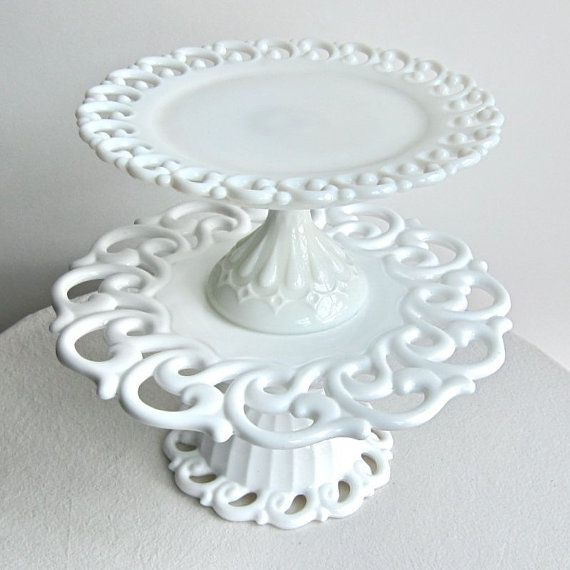 Gorgeous milk glass cake stands