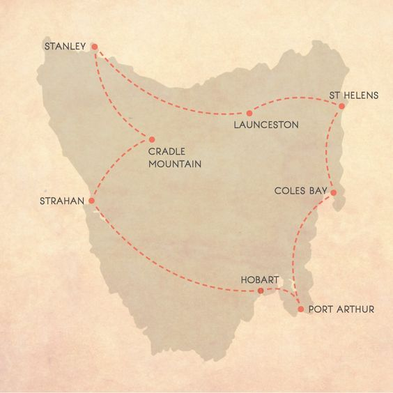 Tasmanian Road Trip Map, 14 days