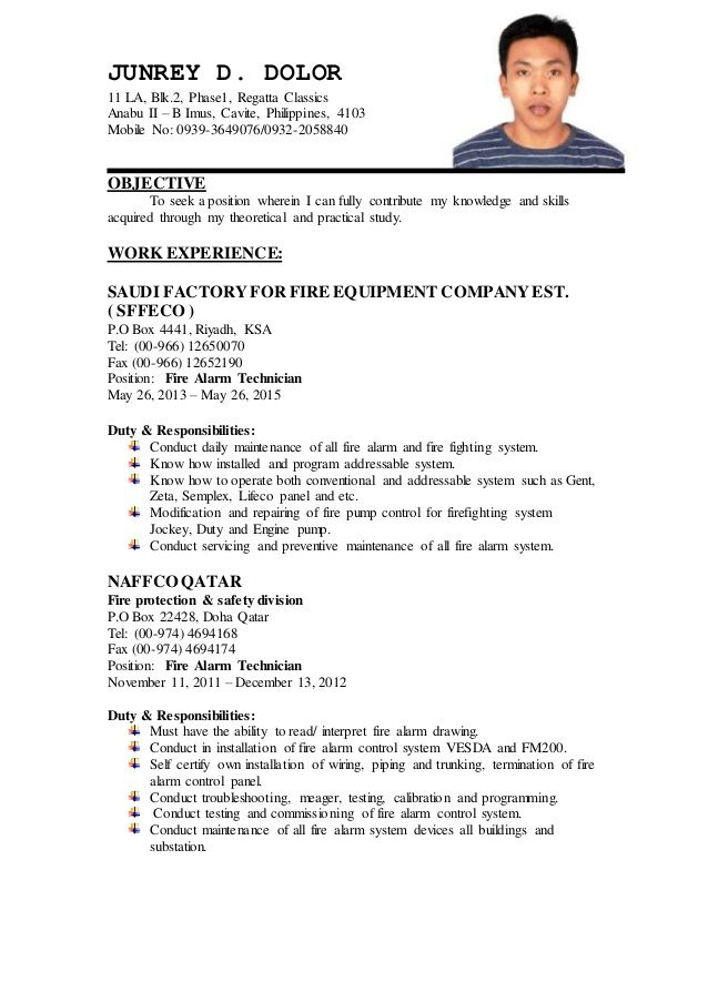 certified fire protection engineer sample resume sample resume without objective - How To Write A Resume Without Work Experience 2